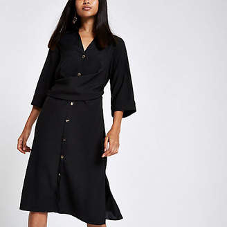 River Island Petite black twist front shirt dress