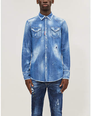 DSQUARED2 Paint-splattered faded stretch-denim shirt