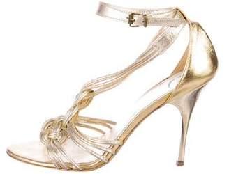 Just Cavalli Metallic Leather Sandals