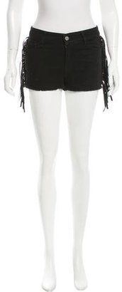 Zadig & Voltaire Leather-Fringed Denim Shorts w/ Tags $95 thestylecure.com