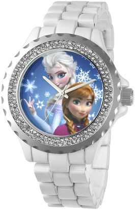 DISNEY Disney Frozen Womens Crystal-Accent White Bracelet Watch $59.99 thestylecure.com