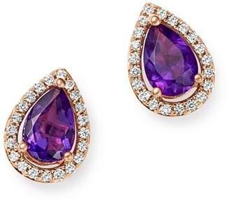 Bloomingdale's Amethyst & Diamond Teardrop Stud Earrings in 14K Rose Gold - 100% Exclusive
