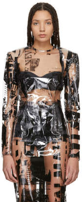 Balmain Transparent Newspaper Print Blouse