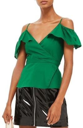 Women's Topshop Ruffle Cold Shoulder Wrap Top $50 thestylecure.com