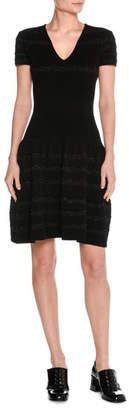 Tomas Maier Metallic-Stripe Wool Short-Sleeve V-Neck Dress