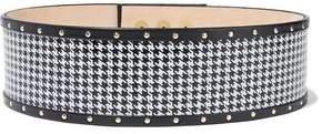 Balmain Studded Leather-Trimmed Houndstooth Suede Belt