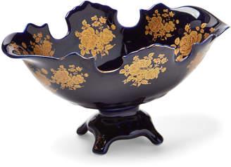 Joseph Sedgh Cobalt Floral Footed Decorative Bowl