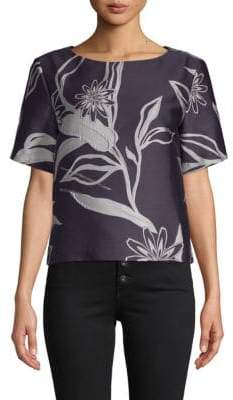 Suno Floral Short-Sleeve Top