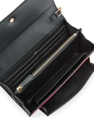 Alexander McQueen Skull-Clasp Grain Leather Flap Wallet on Chain