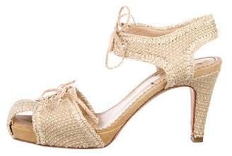 Saint Laurent Ankle-Strap Straw Sandals