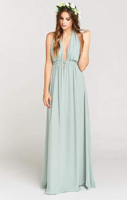 Show Me Your Mumu Luna Halter Dress ~ Silver Sage Crisp