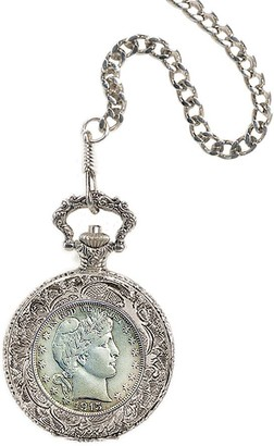 American Coin Treasures Silver Barber Half-Dollar Pocket Watch