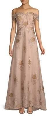 Calvin Klein Embroidered Off-The-Shoulder Floor-Length Dress