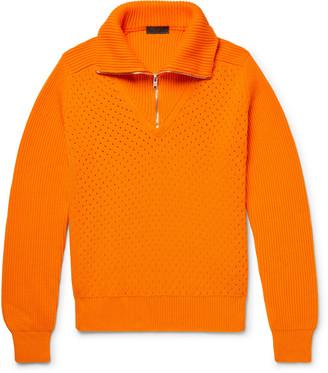Prada Perforated And Ribbed Cotton Half-Zip Sweater