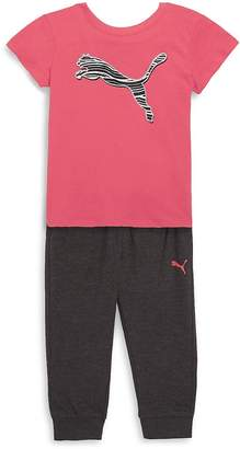 Puma Girl's Two-Piece Cotton Tee & Jogger Pants Set