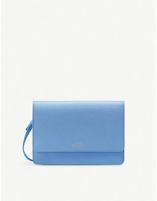 Smythson Panama cross-grained leather purse with strap