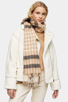 Topshop Camel Lightweight Scarf with Stitch Check