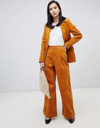 Monki co-ord wide leg cord pants in mustard