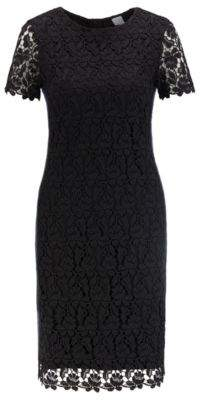BOSS Fully lined lace shift dress with side stripe