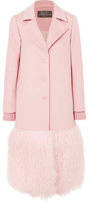 Lela Rose Shearling-trimmed Wool Coat - Pink