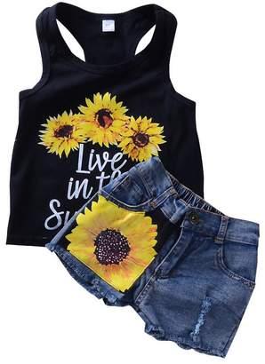 Express ED ED 2Pcs/Set Fashion Toddler Kids Baby Girl Cotton Printed Sleeveless T-Shirt Top + Sunflower Denim Shorts Outfits Black