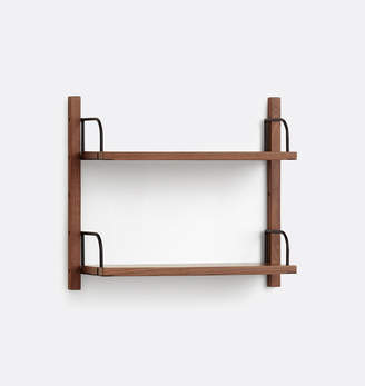 Rejuvenation Hart Modular Walnut Double Shelf Set