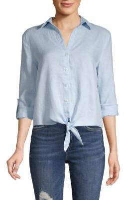 Saks Fifth Avenue Tie-Front Linen Button-Down Shirt