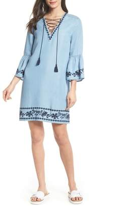 FOREST LILY Bell Sleeve Tencel(R) Shift Dress