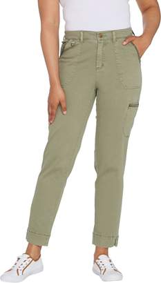 Isaac Mizrahi Live! Regular Chino Ankle Slim Cargo Pants