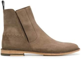 Bottega Veneta steel suede voortrekking jag ankle boot