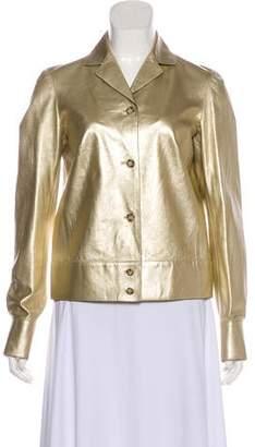 Prada Leather Long Sleeve Jacket