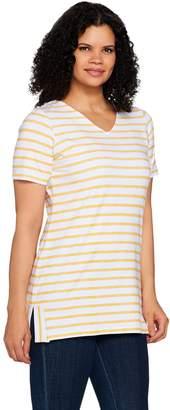 Denim & Co. Active Striped Short Sleeve V-Neck Tunic with Side Slits