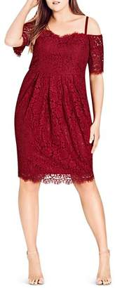 City Chic Plus Amour Off-the-Shoulder Lace Dress