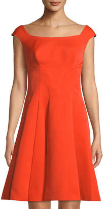 Zac Posen Gaufre Jacquard Fit-and-Flare Dress