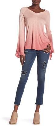 Seven7 Fray Hem Black Lace Skinny Jeans