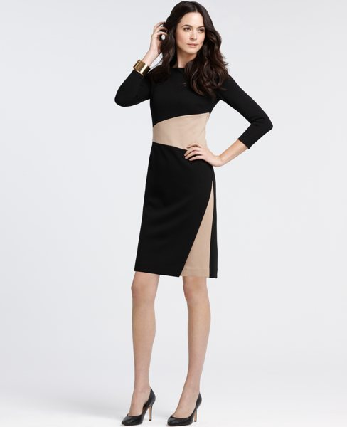 Tall Compact Knit Colorblock Sheath Dress