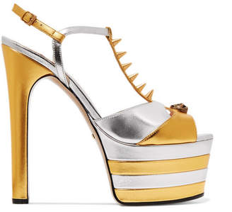 Gucci Studded Two-tone Metallic Leather Platform Sandals - Gold