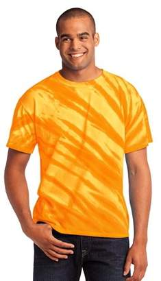 Port & Company Essential Tiger Stripe Tie-Dye Tee. Gold. M.