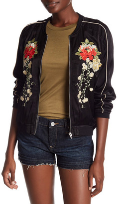 BLANKNYC Denim Embroidered Bomber Jacket $128 thestylecure.com