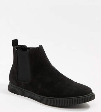 Asos Design DESIGN Wide Fit chelsea boots in black faux suede with creeper sole