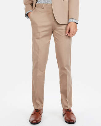 Express Slim Light Brown Cotton Sateen Stretch Suit Pant