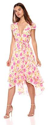 Betsey Johnson Women's Floral Print Chiffon Wrap Dress