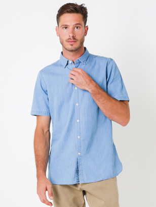 Denham Jeans Aires Short Sleeve Shirt in Washed Chambray