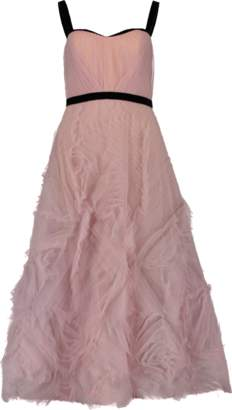 Marchesa Tea Length Velvet Trim Gown