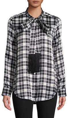 Equipment Plaid Tie-Neck Silk Blouse