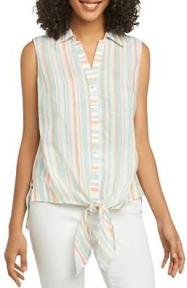 Foxcroft Cabana-Stripe Tie-Waist Sleeveless Shirt
