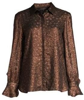 Donna Karan Bronze Dotted Ruffle Blouse