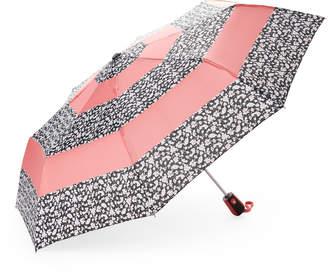 Kensie Auto Open Floral Contrast Stripe Umbrella