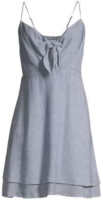 Rails August Stripe Tiered Hem Chambray Midi Dress