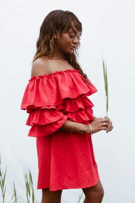 boohoo Nelly Off Shoulder Ruffle Shirt Dress $40 thestylecure.com